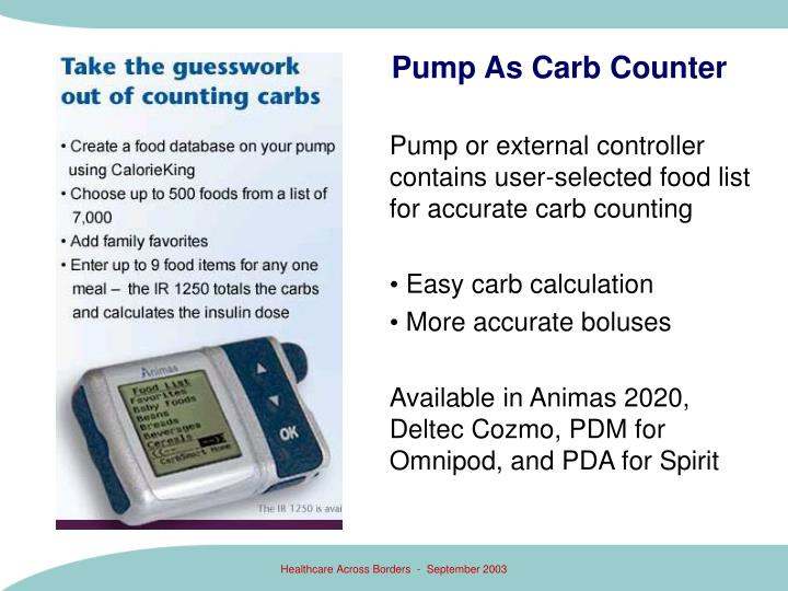 Pump or external controller contains user-selected food list for accurate carb counting
