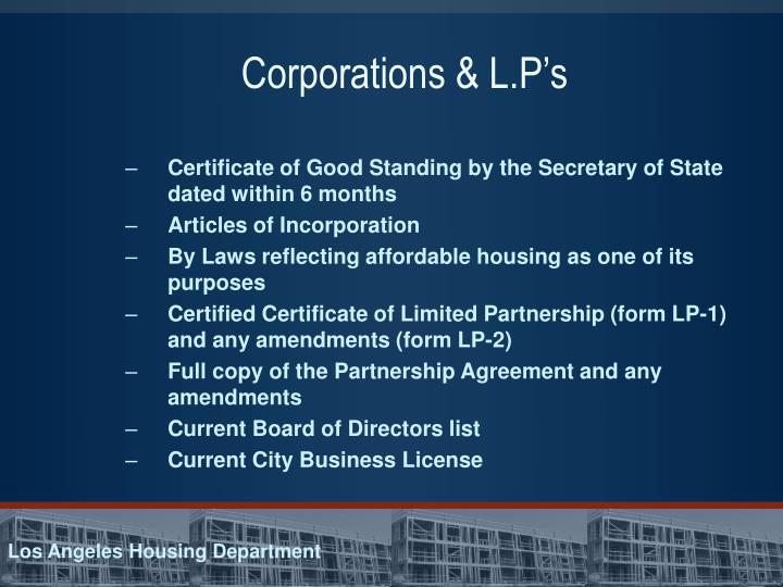 Corporations & L.P's