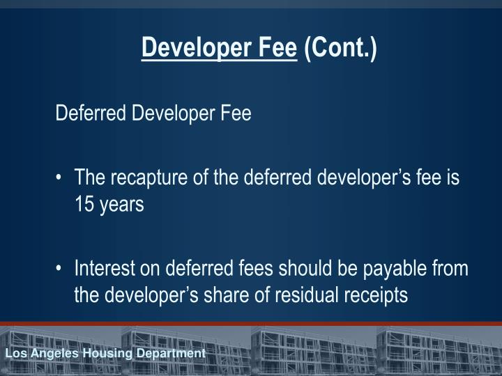 Developer Fee