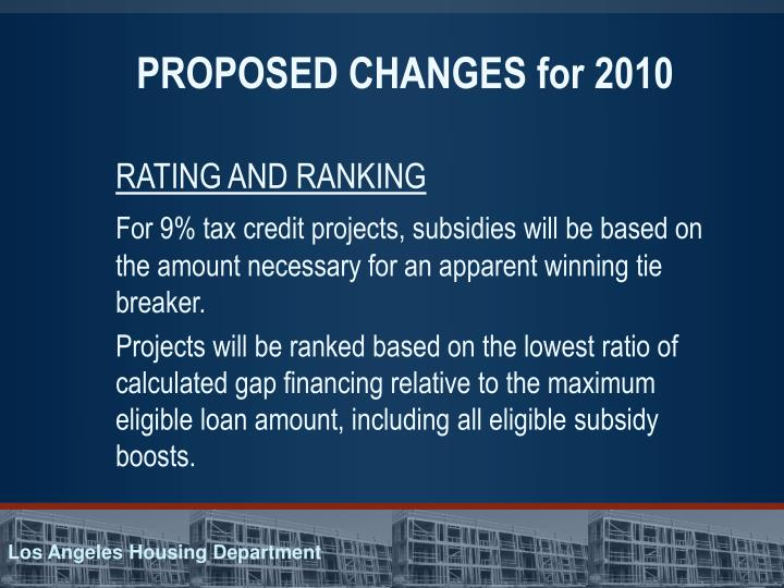 PROPOSED CHANGES for 2010