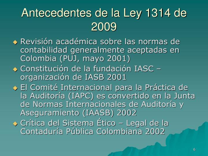 Antecedentes de la Ley 1314 de 2009