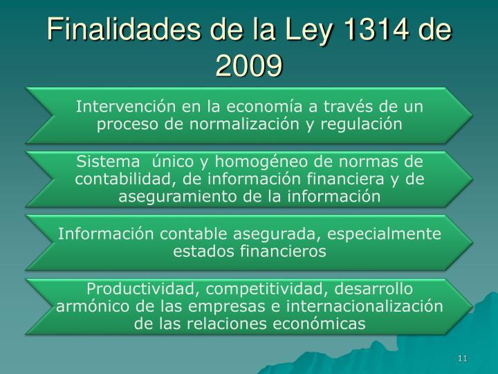 Finalidades de la Ley 1314 de 2009