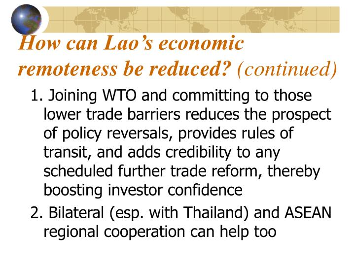 How can Lao's economic remoteness be reduced?