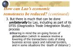 how can lao s economic remoteness be reduced continued1