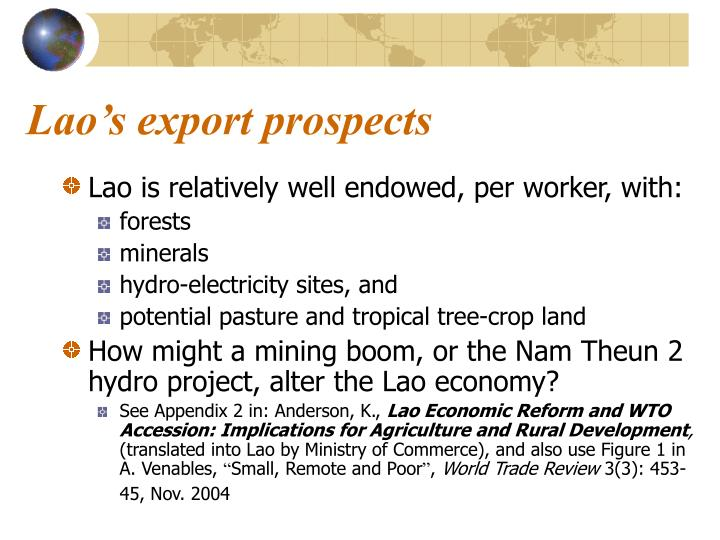 Lao's export prospects