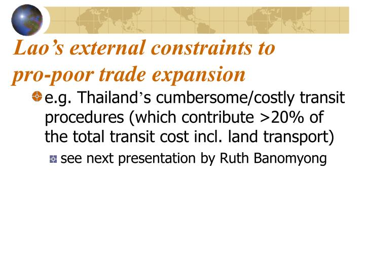 Lao's external constraints to pro-poor trade expansion