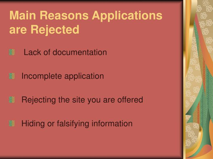 Main Reasons Applications are Rejected