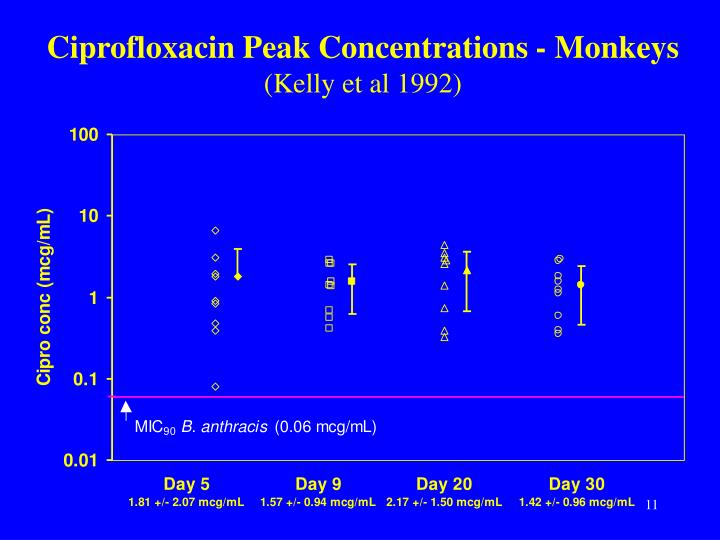 Ciprofloxacin Peak Concentrations - Monkeys
