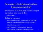 prevention of inhalational anthrax human epidemiology