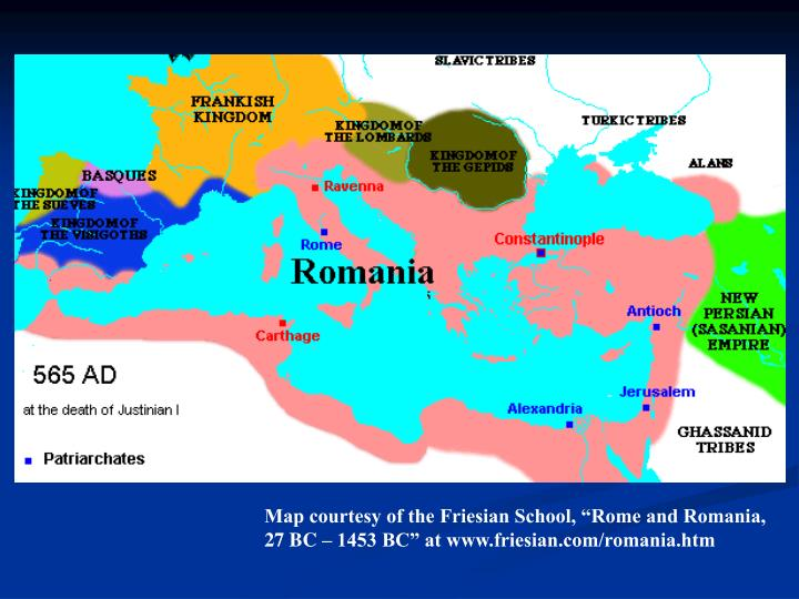 "Map courtesy of the Friesian School, ""Rome and Romania,"