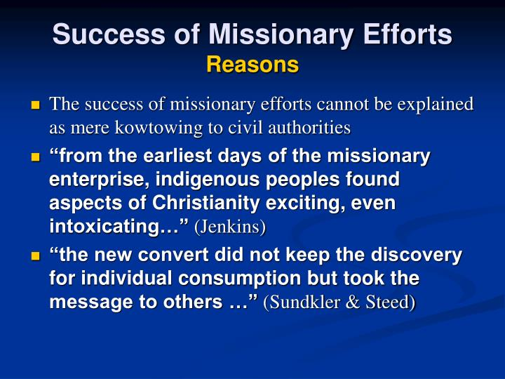 Success of Missionary Efforts