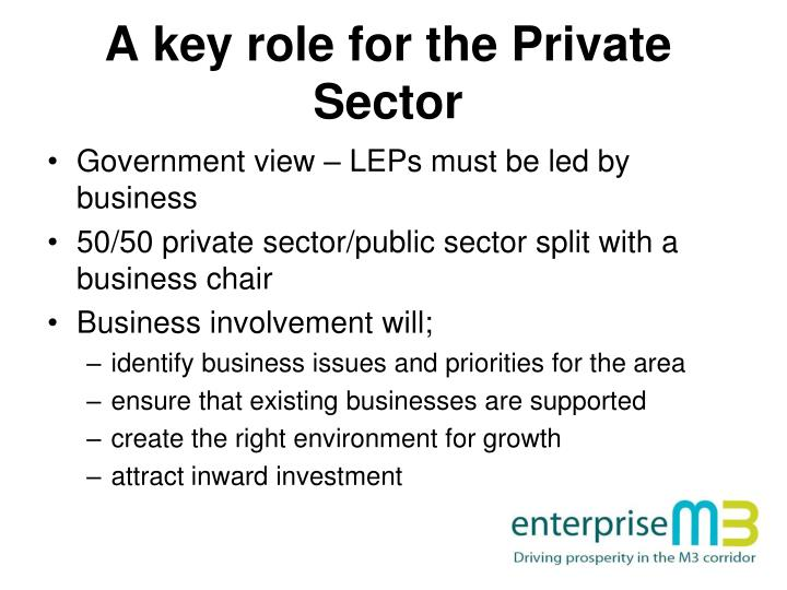 A key role for the Private Sector