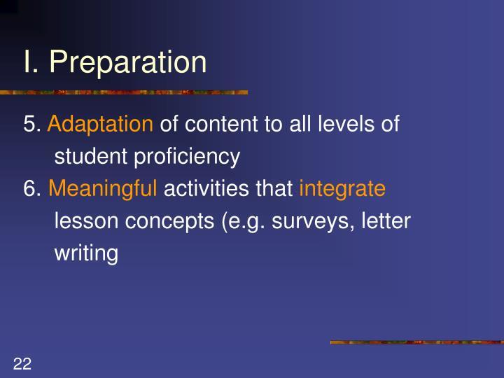 I. Preparation