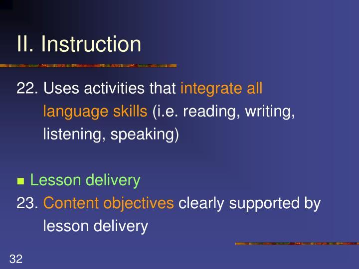 II. Instruction