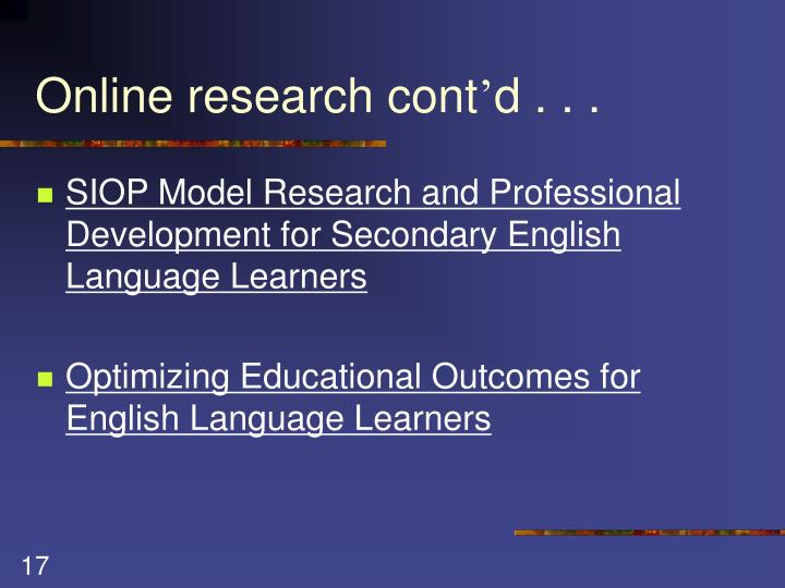 Online research cont