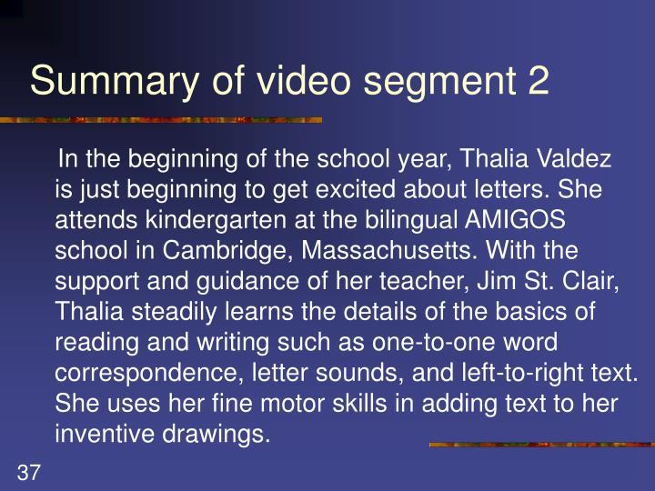 Summary of video segment 2