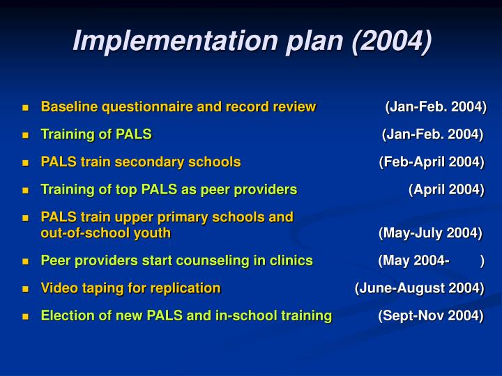 Implementation plan (2004)