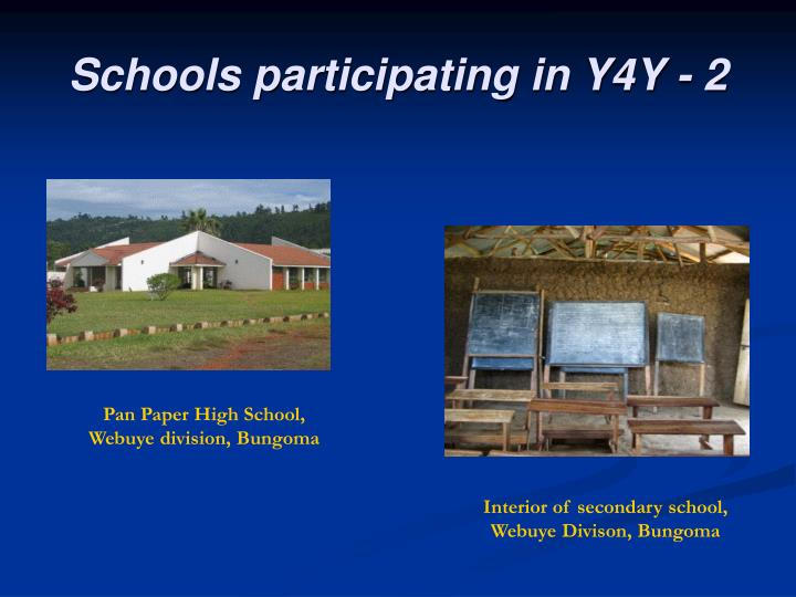 Schools participating in Y4Y - 2