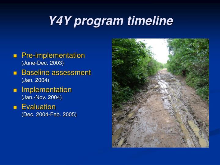 Y4Y program timeline