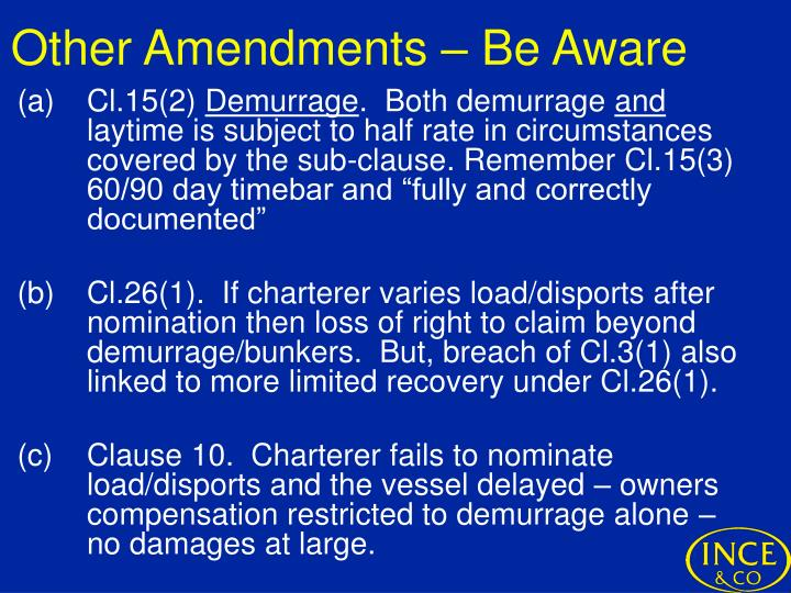 Other Amendments – Be Aware
