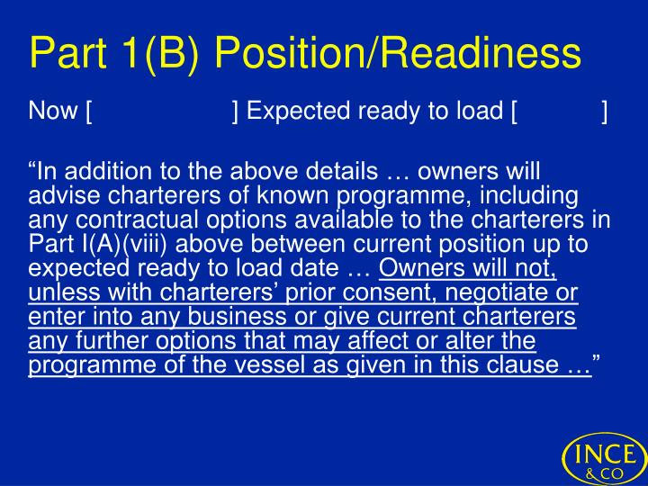 Part 1(B) Position/Readiness