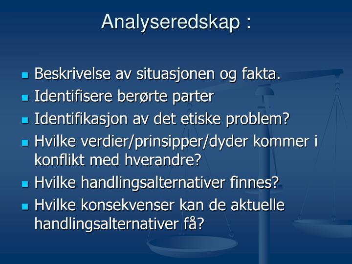 Analyseredskap :