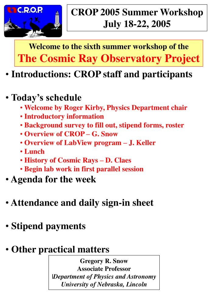 CROP 2005 Summer Workshop