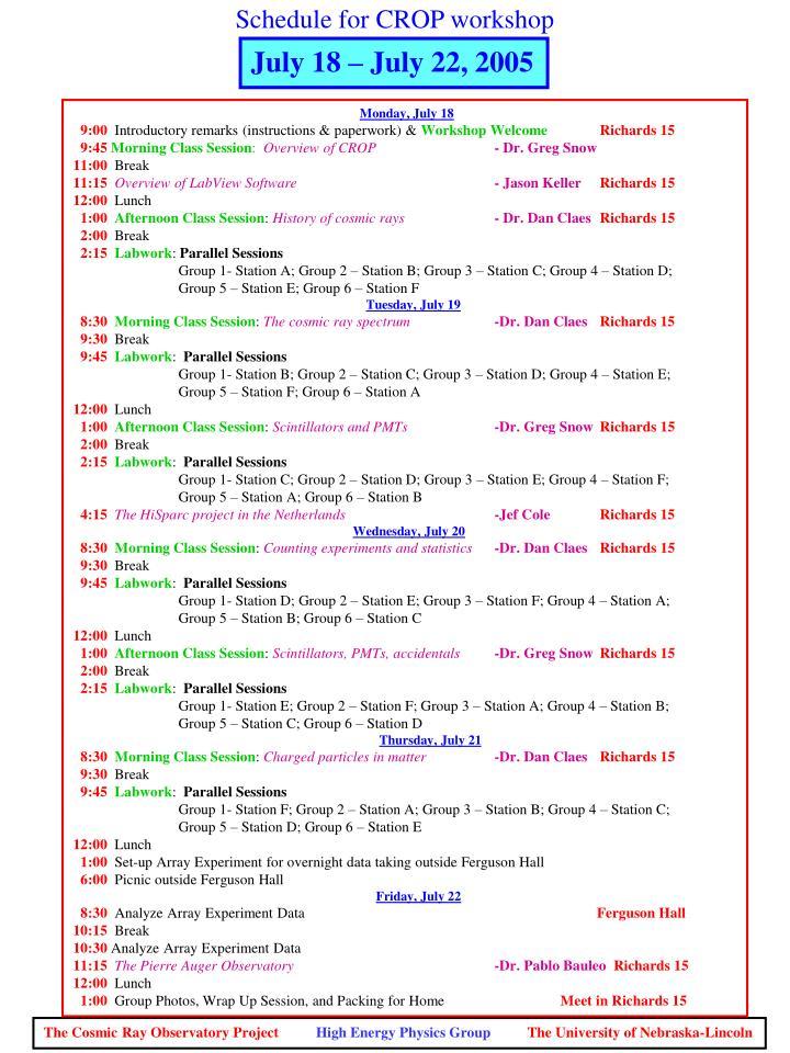 Schedule for CROP workshop