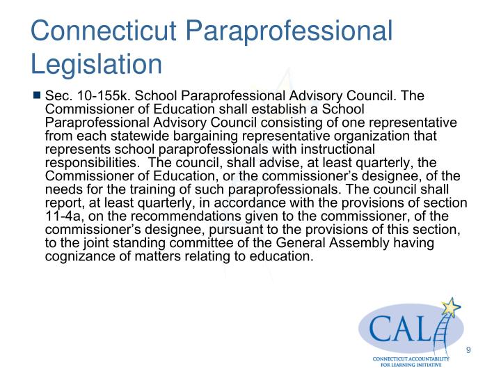 Connecticut Paraprofessional Legislation