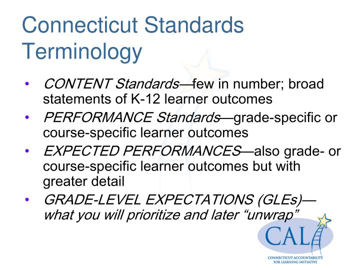 Connecticut Standards Terminology