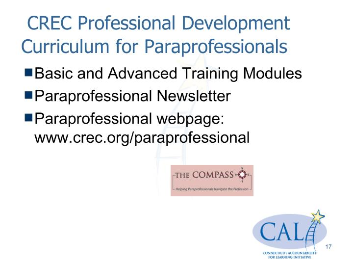 CREC Professional Development Curriculum for Paraprofessionals