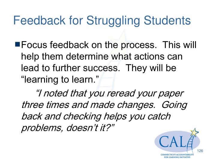 Feedback for Struggling Students