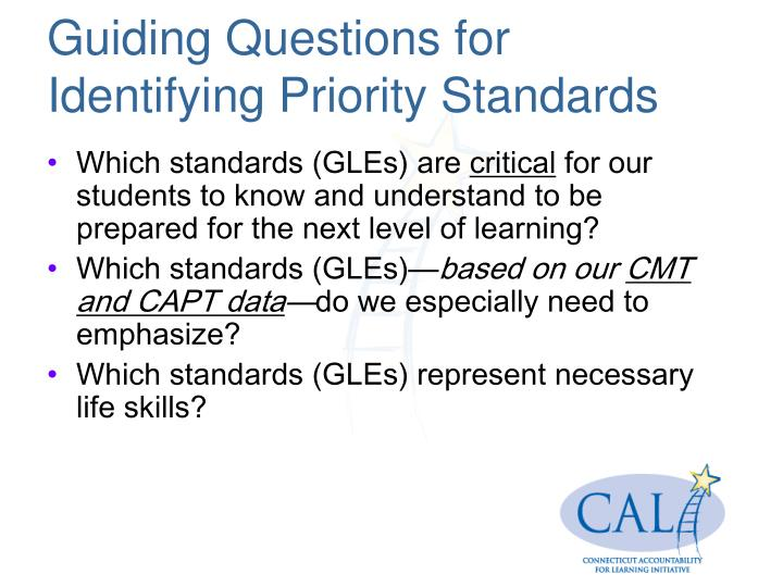 Guiding Questions for Identifying Priority Standards