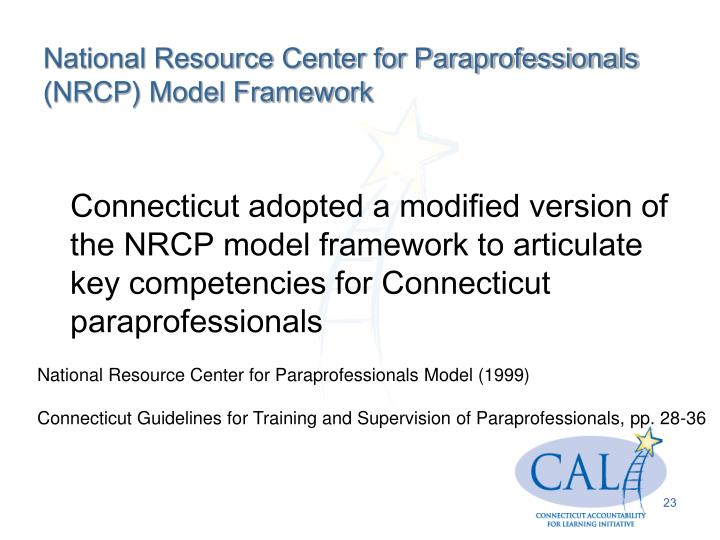 National Resource Center for Paraprofessionals (NRCP) Model Framework