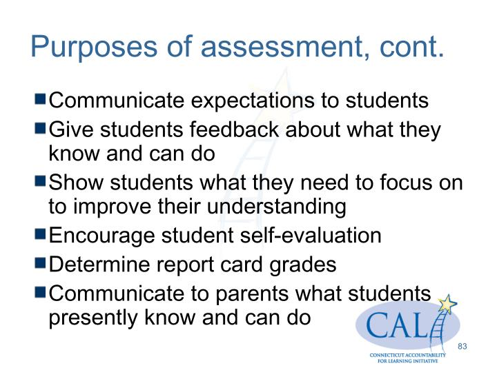 Purposes of assessment, cont.