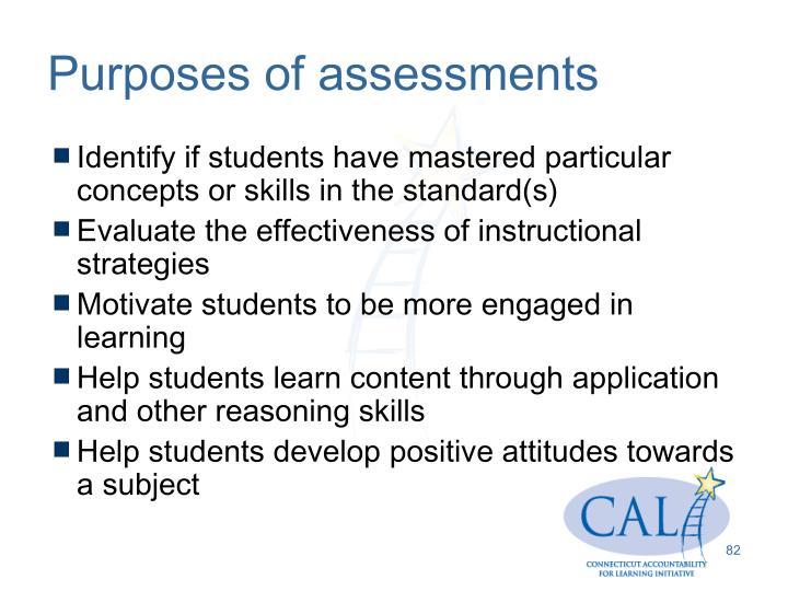 Purposes of assessments