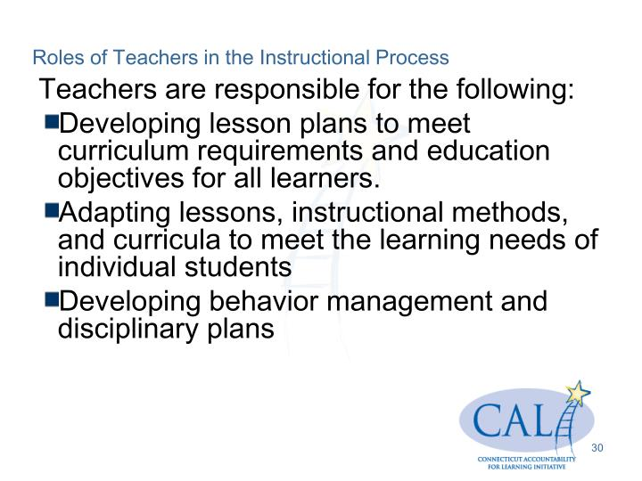 Roles of Teachers in the Instructional Process