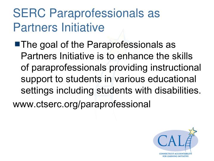SERC Paraprofessionals as Partners Initiative