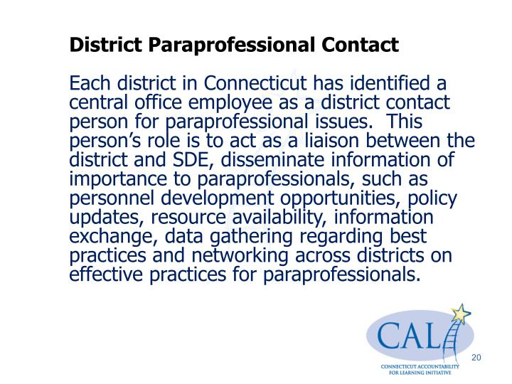 District Paraprofessional Contact