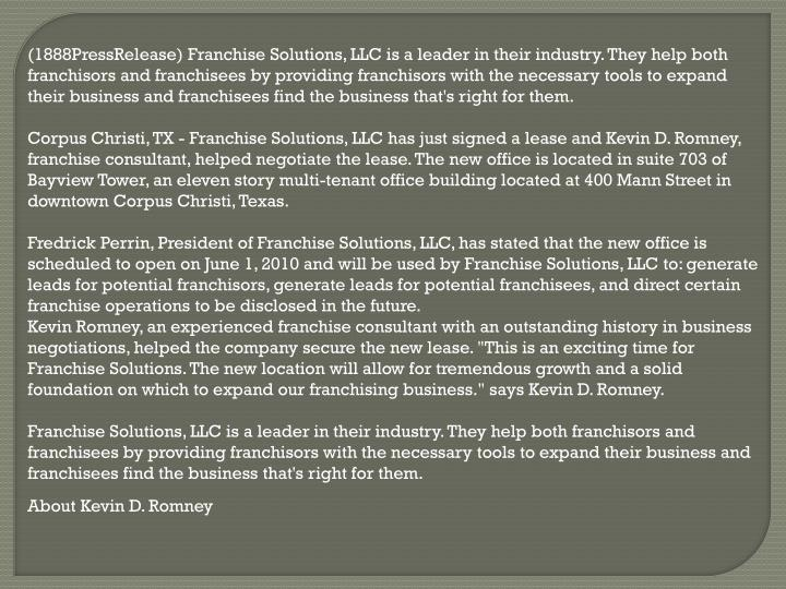 (1888PressRelease) Franchise Solutions, LLC is a leader in their industry. They help both franchisor...