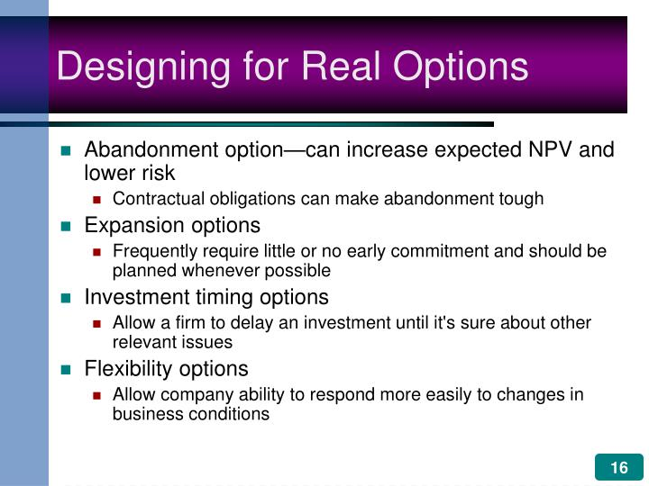 Designing for Real Options