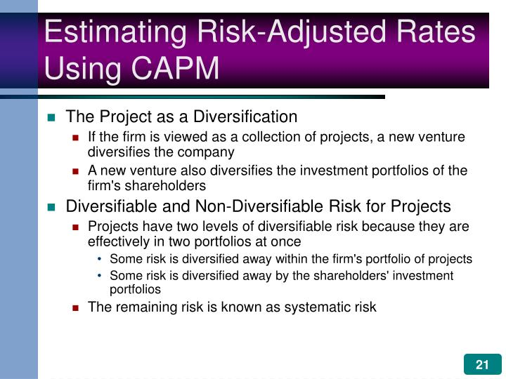 Estimating Risk-Adjusted Rates Using CAPM