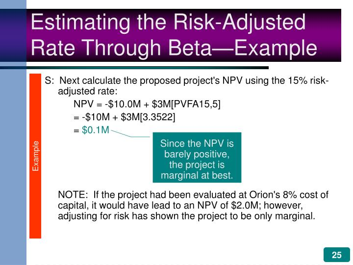 S:  Next calculate the proposed project's NPV using the 15% risk-adjusted rate: