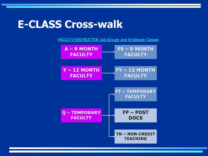 E-CLASS Cross-walk