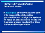 hr payroll project definition document states