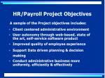 hr payroll project objectives