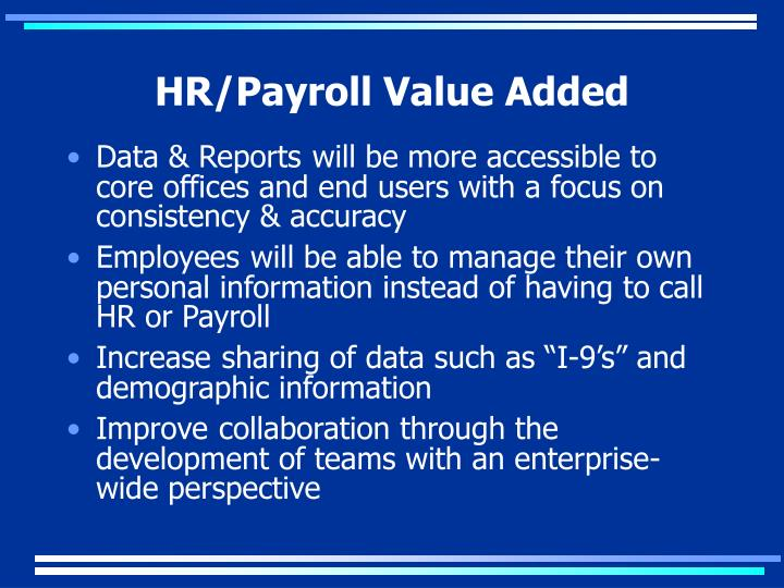 HR/Payroll Value Added