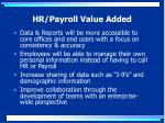 hr payroll value added