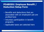 pdabdsu employee benefit deduction setup form