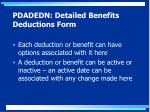 pdadedn detailed benefits deductions form